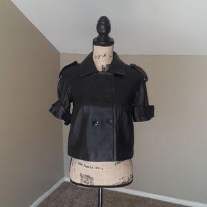 Bebe Black Leather Cropped Jacket